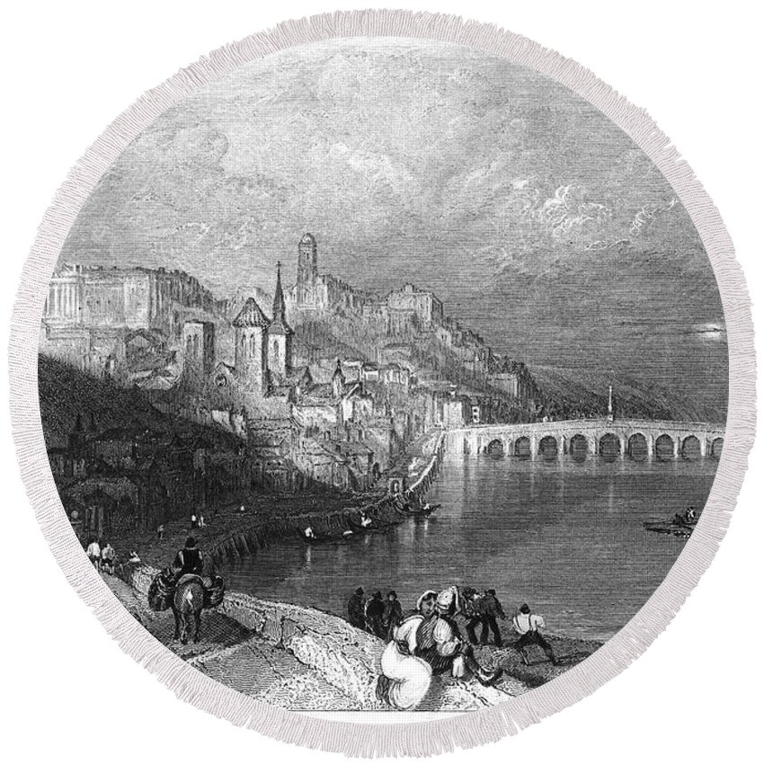 1835 Round Beach Towel featuring the photograph France: Blois by Granger