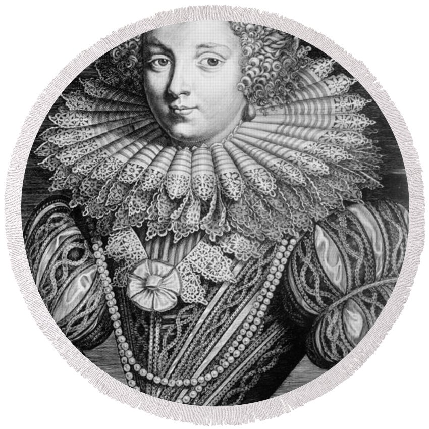 17th Century Round Beach Towel featuring the photograph France: Noblewoman by Granger