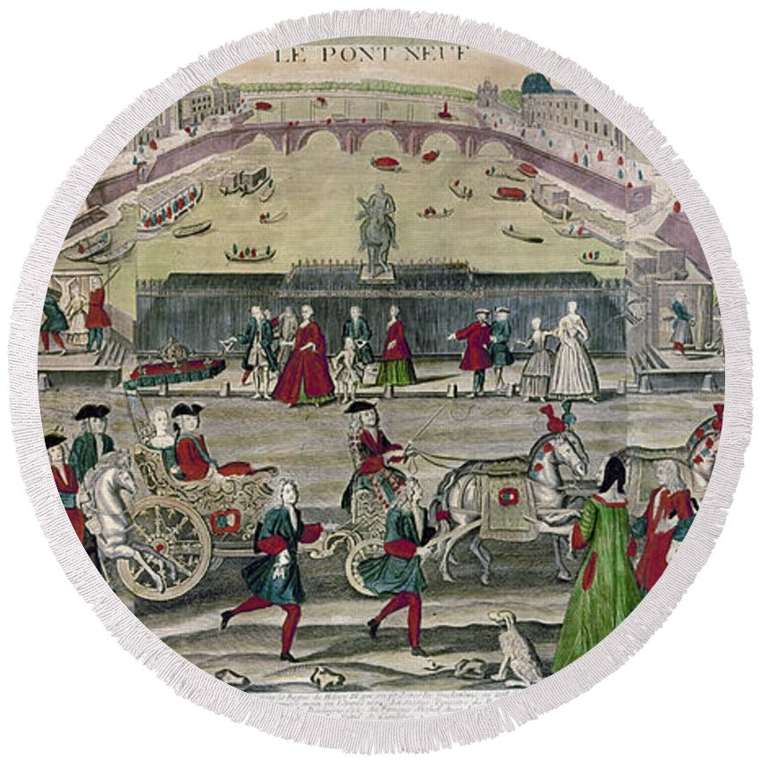 1725 Round Beach Towel featuring the photograph France: Pont Neuf, 1725 by Granger