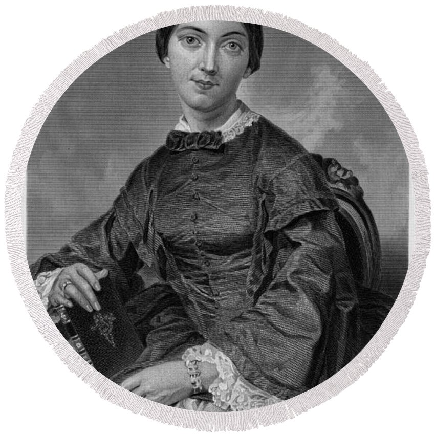 1873 Round Beach Towel featuring the photograph Frances Sargent Osgood (1811-1850). American Poet. Engraving From A Painting By Alonzo Chappel, C1873 by Granger