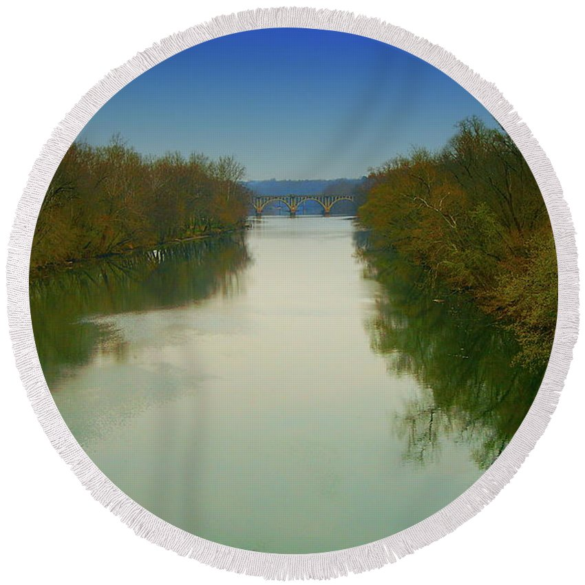All Rights Reserved Round Beach Towel featuring the photograph Fredericksburg Virginia River by Clayton Bruster