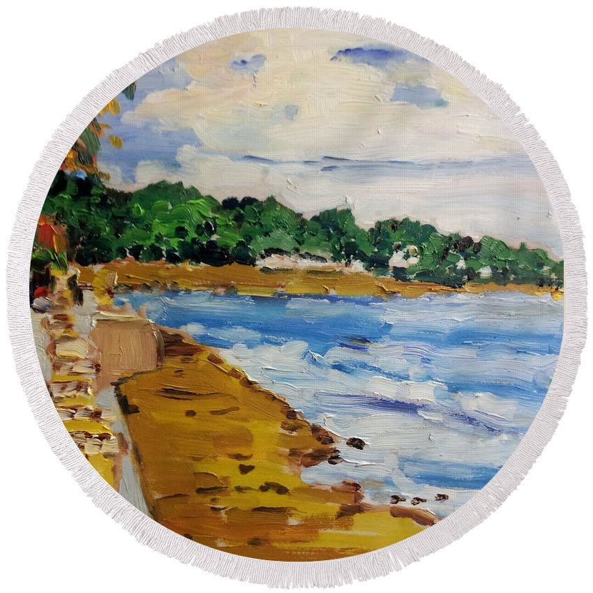 Seascape Round Beach Towel featuring the painting Frederiksted By The Pier by Diane Elgin