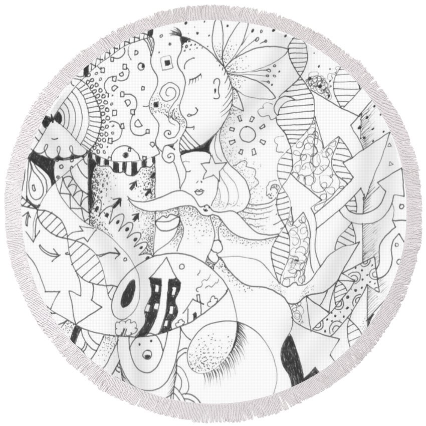 Abstract Round Beach Towel featuring the drawing Free Flow by Helena Tiainen