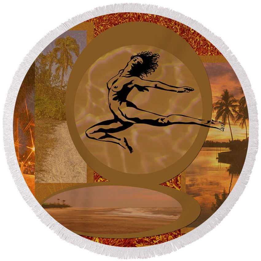 Gold Round Beach Towel featuring the digital art Free To Be Me by Peggy Starks