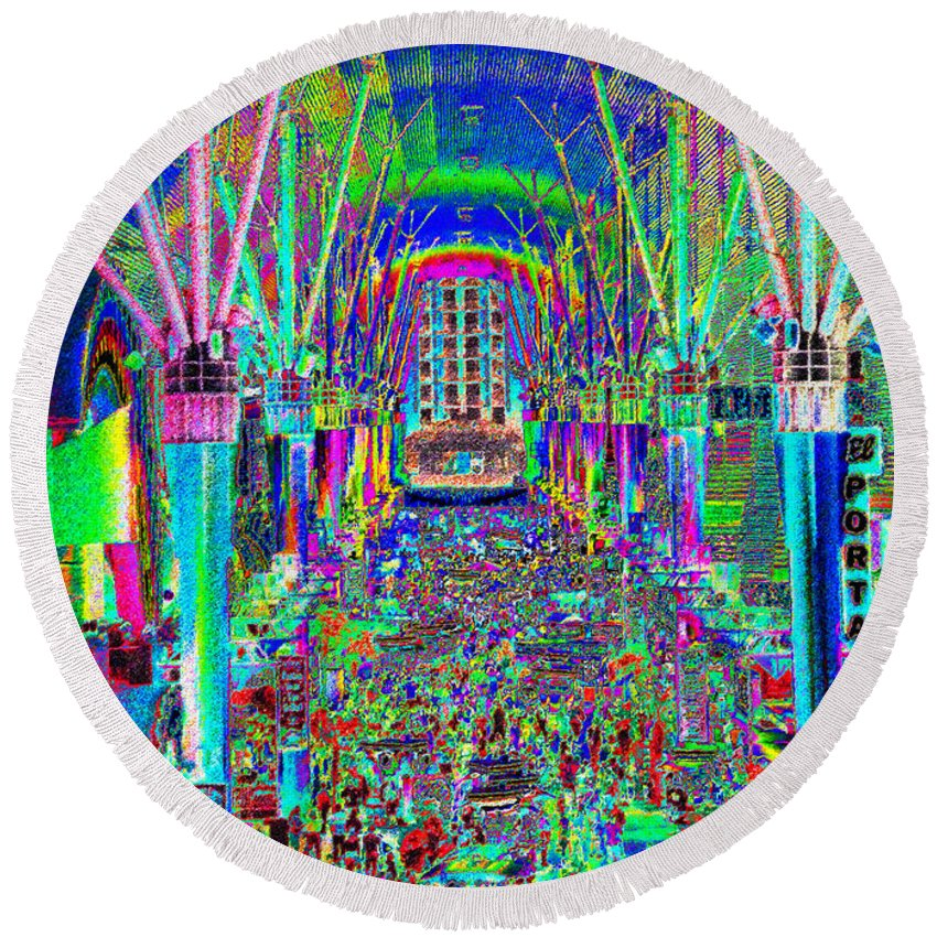 Art Round Beach Towel featuring the painting Fremont Street Experience Nevada by David Lee Thompson