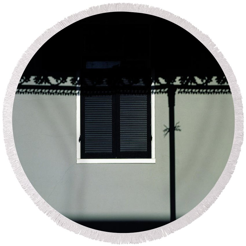 French Quarter Round Beach Towel featuring the photograph French Quarter Shutter And Shadows by Mike Nellums