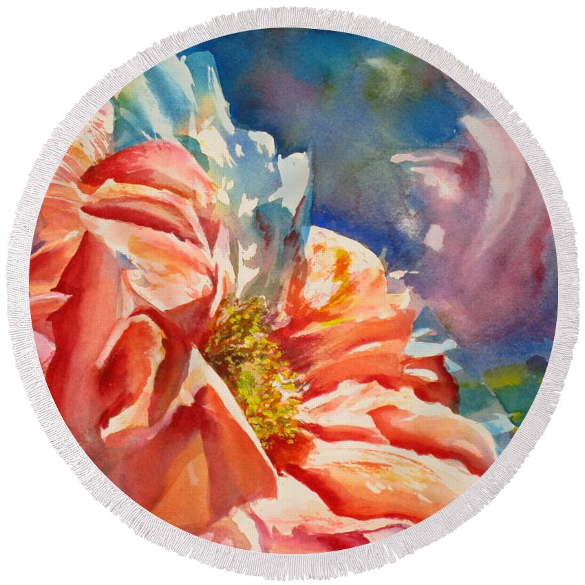 Rose Round Beach Towel featuring the painting Frizzy by Mohamed Hirji