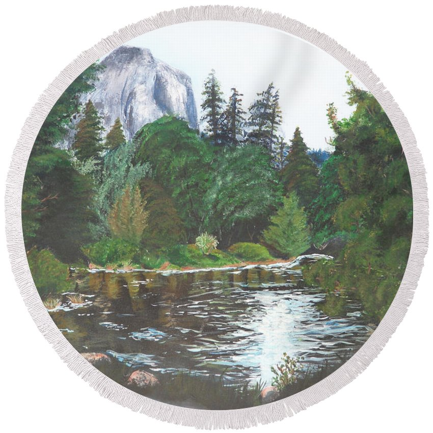 Yosemite Round Beach Towel featuring the painting Frog's Eye View by Travis Day