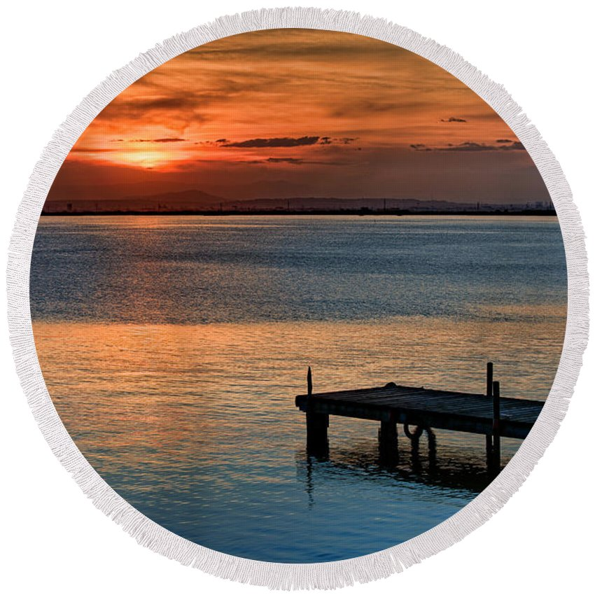 La Albufera Lagoon Round Beach Towel featuring the photograph From 1500k To 12000k by Juan Carlos Ferro Duque