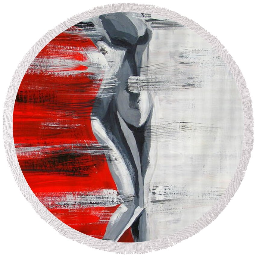 Female Figure On A Pedestal Round Beach Towel featuring the painting Front View In The Three Colors by Tatjana Andre
