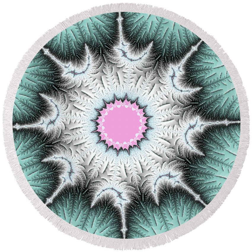 Fractal Round Beach Towel featuring the photograph Frost Flower by Mother Nature