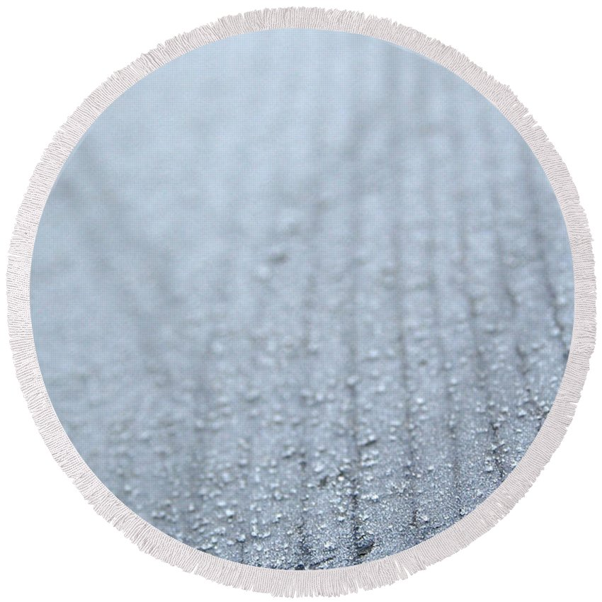 Outdoors Round Beach Towel featuring the photograph Frosted Woodgrain by Susan Herber