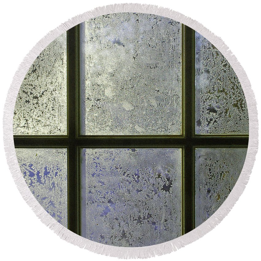 Frost Round Beach Towel featuring the photograph Frosty Window Pane by Aimee L Maher ALM GALLERY