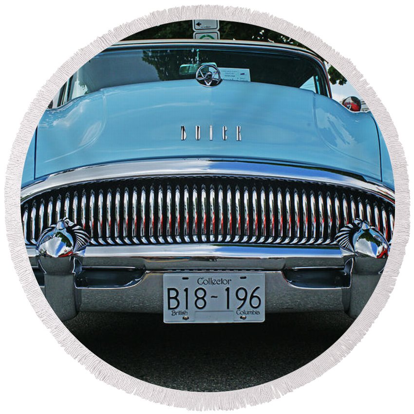 Custom Cars Round Beach Towel featuring the photograph Frowning Buick by Randy Harris