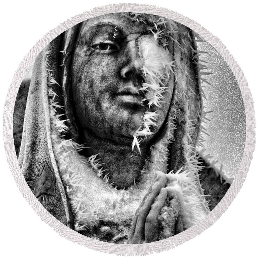 Mary Round Beach Towel featuring the photograph Frozen Mother by David Sanchez