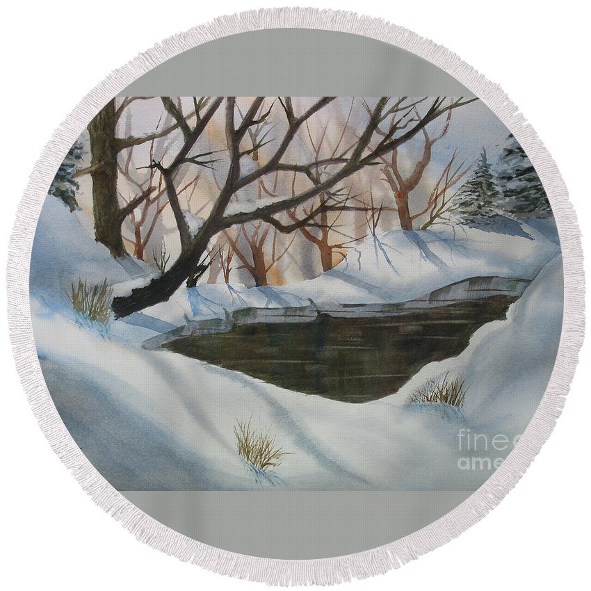 Round Beach Towel featuring the painting Frozen Pond by Mohamed Hirji