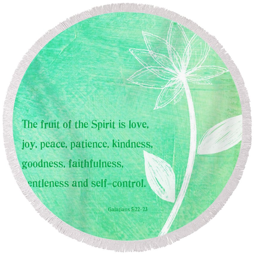 Galatians Round Beach Towel featuring the mixed media Fruit Of The Spirit by Linda Woods