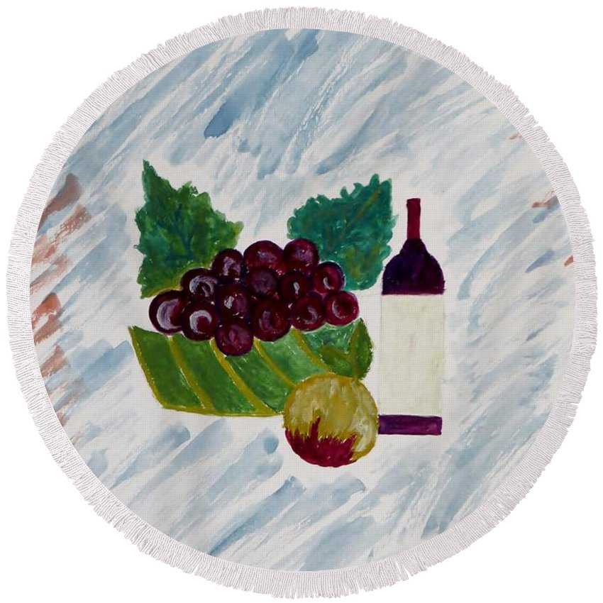 Bottle Round Beach Towel featuring the painting Fruits by Sonali Gangane