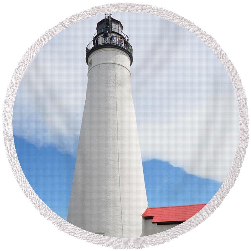 Lighthouse Round Beach Towel featuring the photograph Ft Gratiot Lighthouse by Randy J Heath