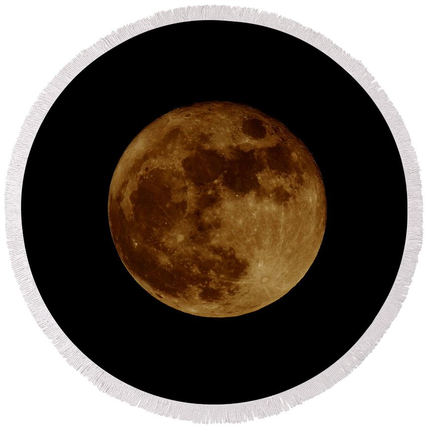 Moon Round Beach Towel featuring the photograph Full Moon by Bruce J Robinson