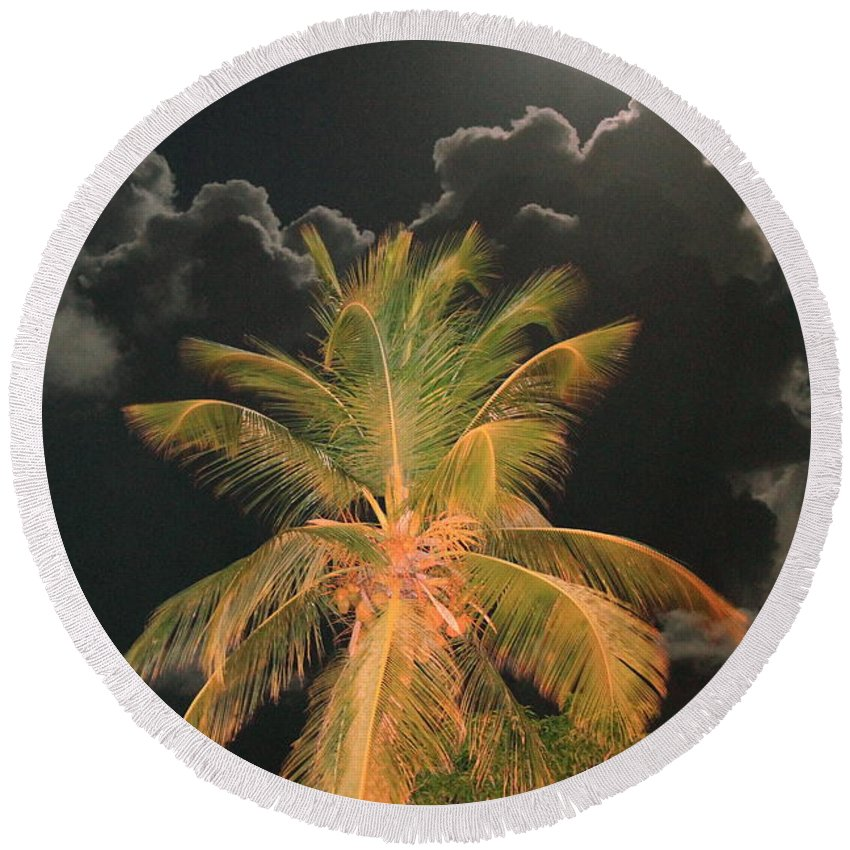 Caribbean Round Beach Towel featuring the photograph Full Moon In The Caribbean by Roupen Baker