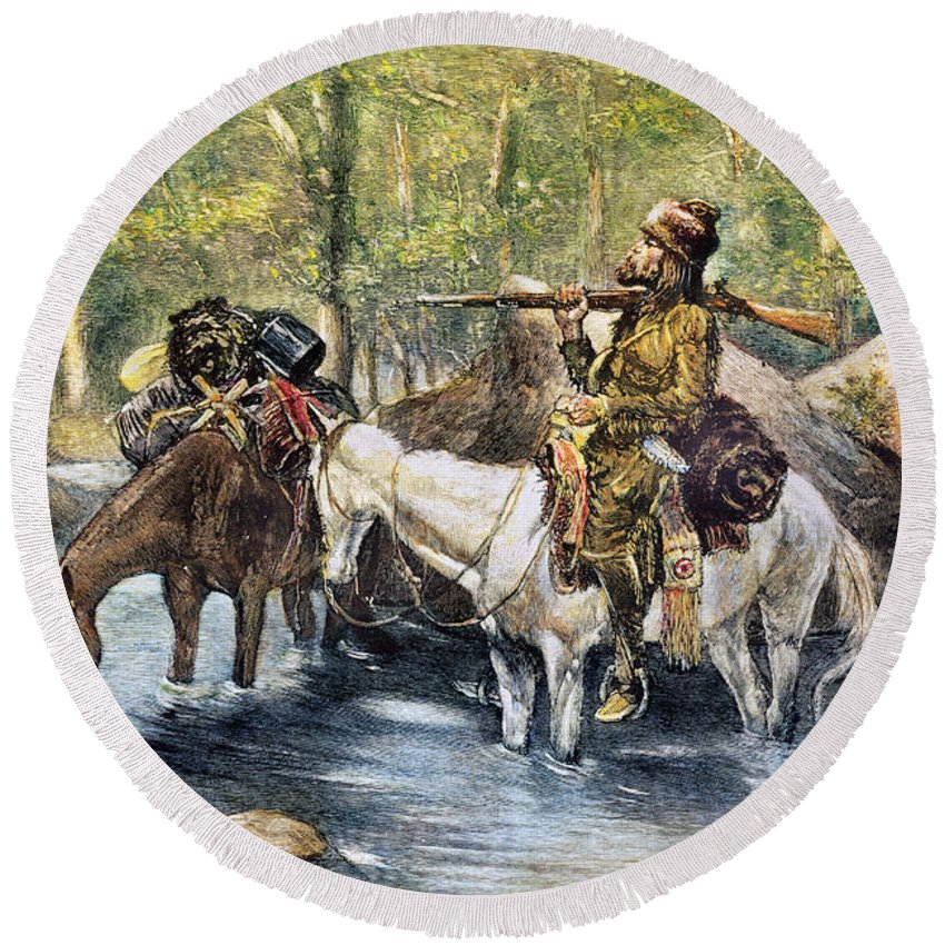 19th Century Round Beach Towel featuring the photograph Fur Trapper by Granger
