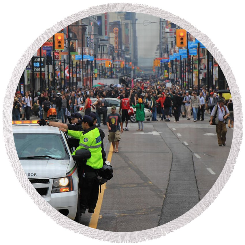 Toronto Round Beach Towel featuring the photograph G20 Summit Toronto by Andrew Fare