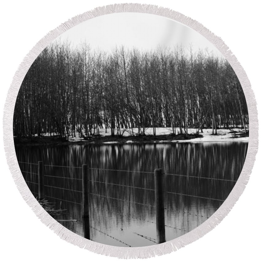 Barn Round Beach Towel featuring the photograph Gallows Pond by The Artist Project