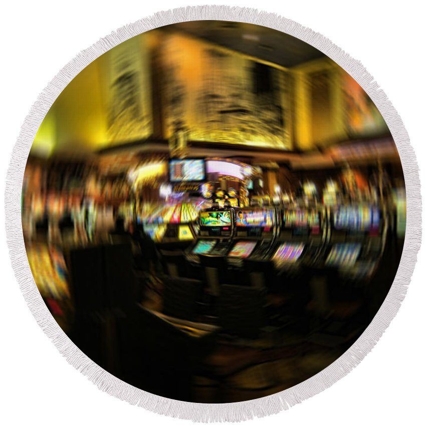 Casino Round Beach Towel featuring the photograph Gambling Vision by Douglas Barnard