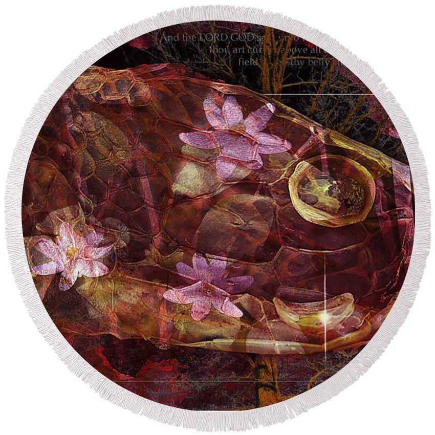 Abstract Round Beach Towel featuring the digital art Garden Of Eden by Ron Jones
