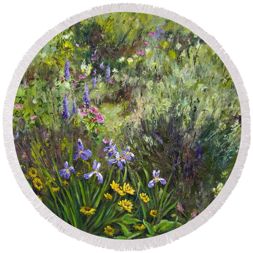 Garden Round Beach Towel featuring the painting Garden Party by Dee Carpenter