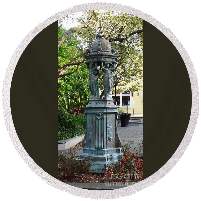 Photograph Round Beach Towel featuring the photograph Garden Statuary In The French Quarter by Alys Caviness-Gober