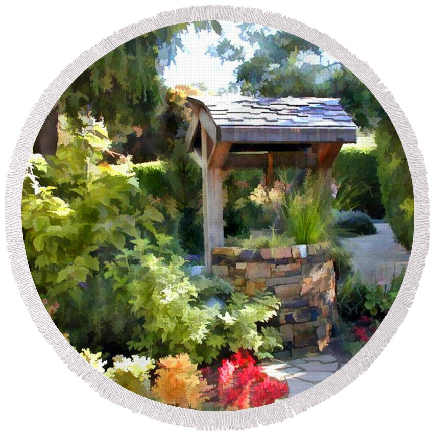 Round Beach Towel featuring the painting Garden Wishing Well by Elaine Plesser