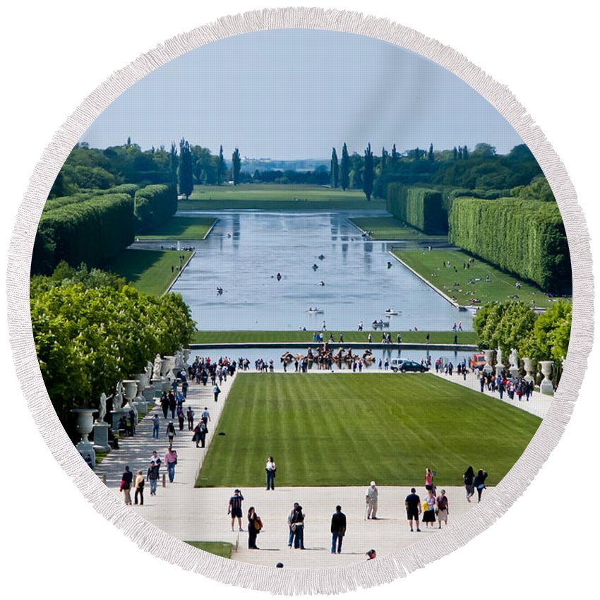 Versailles France Round Beach Towel featuring the photograph Gardens At Palace Of Versailles France by Jon Berghoff