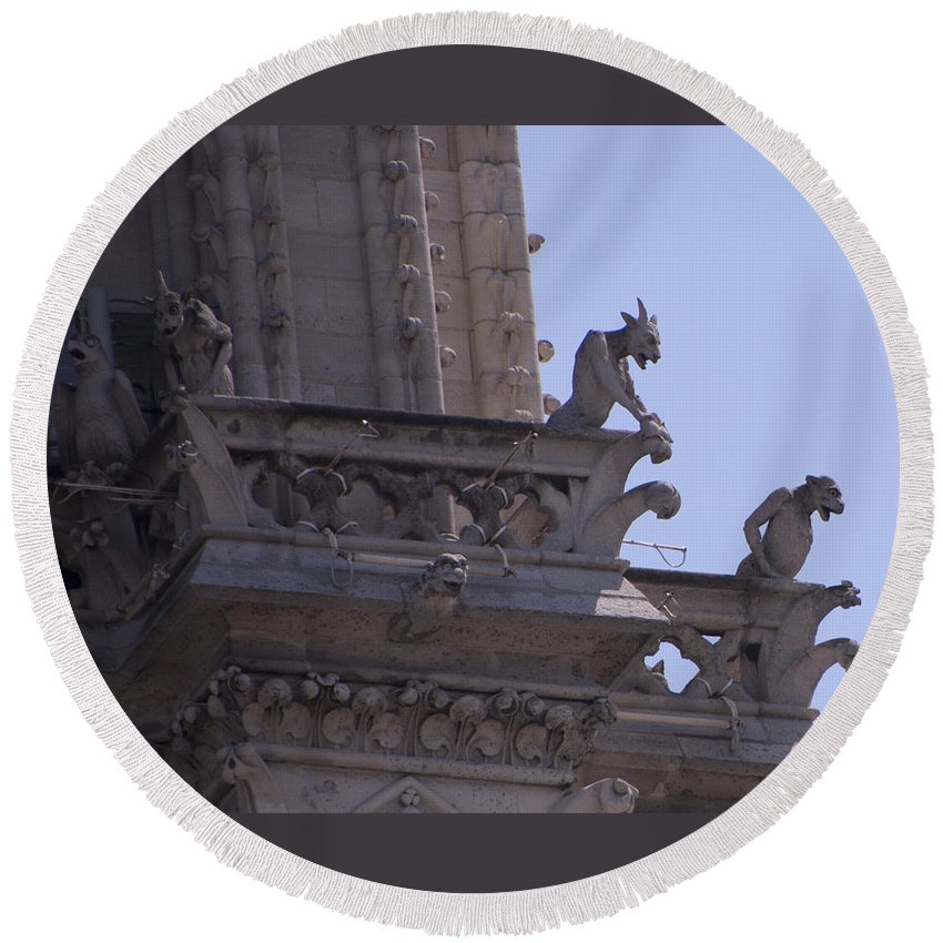 France Round Beach Towel featuring the photograph Gargoyles At Notre Dame Cathedral by Jon Berghoff