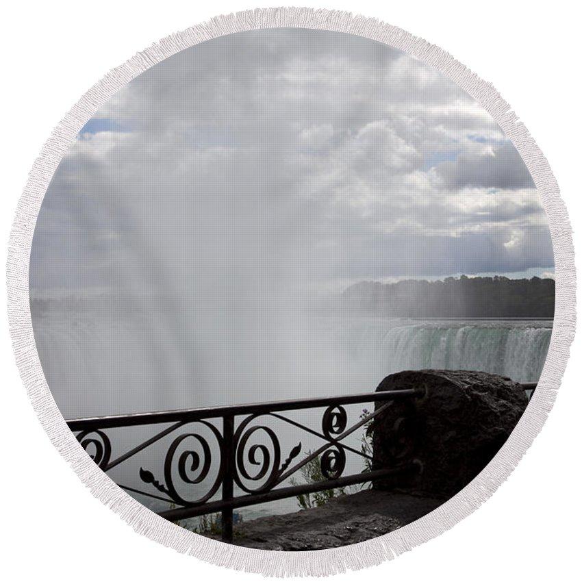 Niagara Round Beach Towel featuring the photograph Gate to Fall by Amanda Barcon