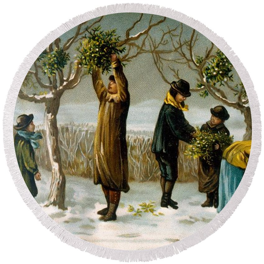Mistletoe Round Beach Towel featuring the painting Gathering Mistletoe by English School