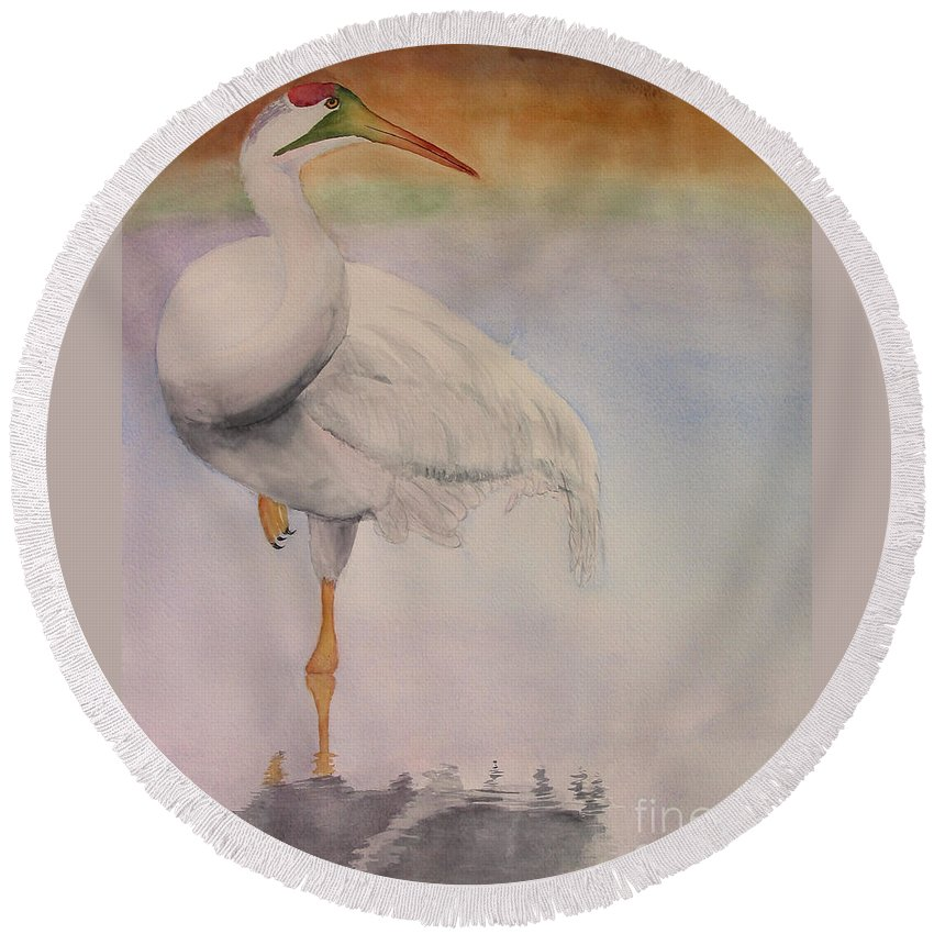 Round Beach Towel featuring the painting Gazing by Mohamed Hirji