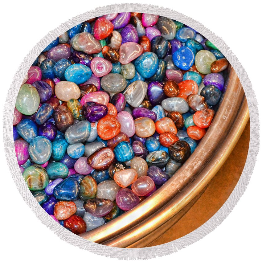 Gems Round Beach Towel featuring the photograph Gems by Traci Cottingham