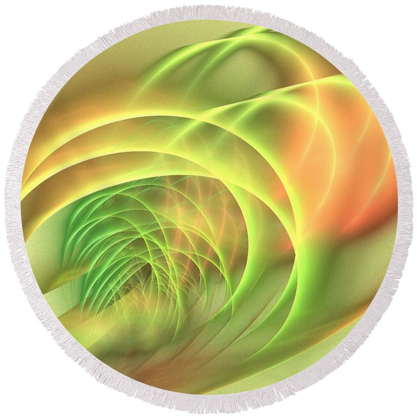 Apophysis Round Beach Towel featuring the digital art Geomagnetic by Kim Sy Ok