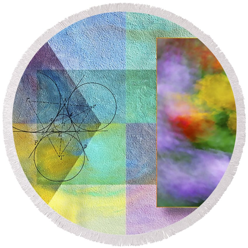 Abstract Round Beach Towel featuring the photograph Geometric Blur by Susan Candelario