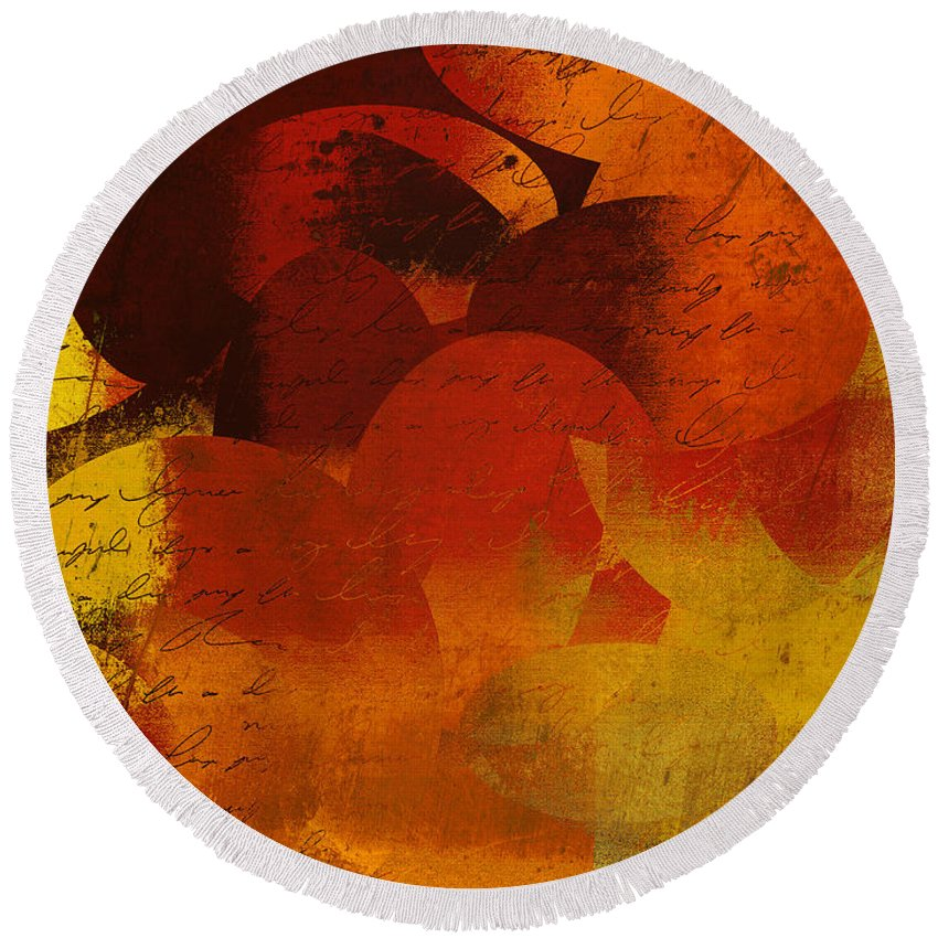 Orange Round Beach Towel featuring the digital art Geomix 05 - 02at02b by Variance Collections