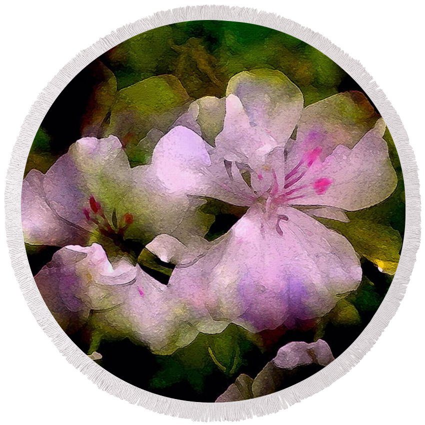 Floral Round Beach Towel featuring the photograph Geranium 8 by Pamela Cooper