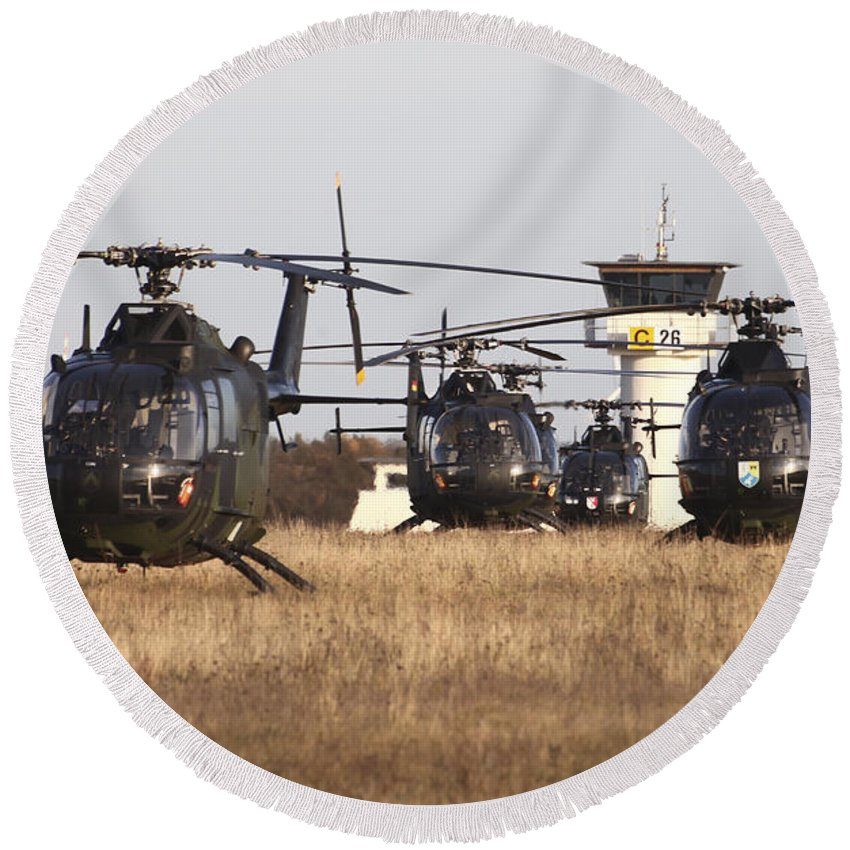 Germany Round Beach Towel featuring the photograph German Army Bo-105 Helicopters, Stendal by Timm Ziegenthaler