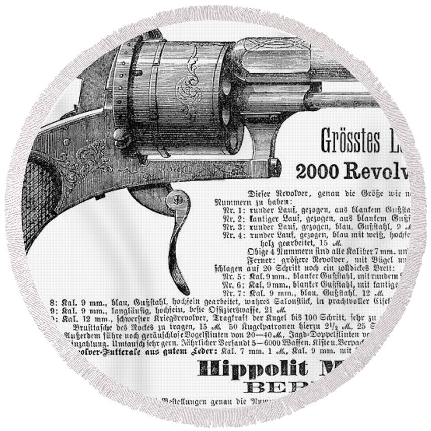 1880 Round Beach Towel featuring the photograph German Revolver, 1880 by Granger