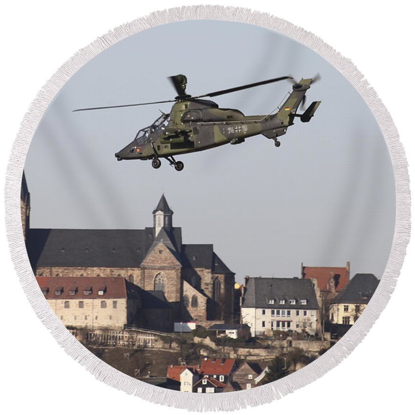 Germany Round Beach Towel featuring the photograph German Tiger Eurocopter Flying by Timm Ziegenthaler