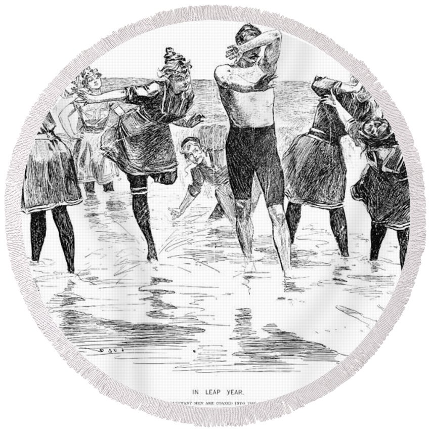 1892 Round Beach Towel featuring the photograph Gibson: Bathing, 1892 by Granger