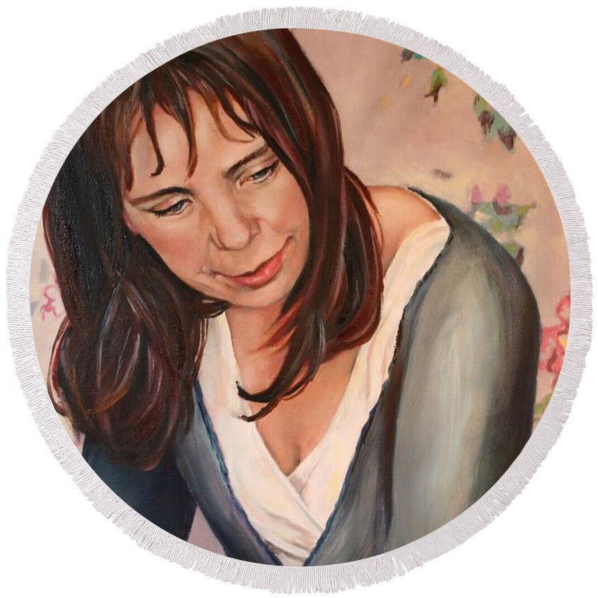 Portrait Round Beach Towel featuring the painting Gillian by Jolante Hesse