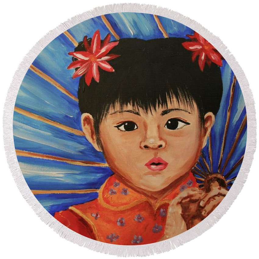 Chinese Round Beach Towel featuring the painting Girl And Umbrella by Cris Motta