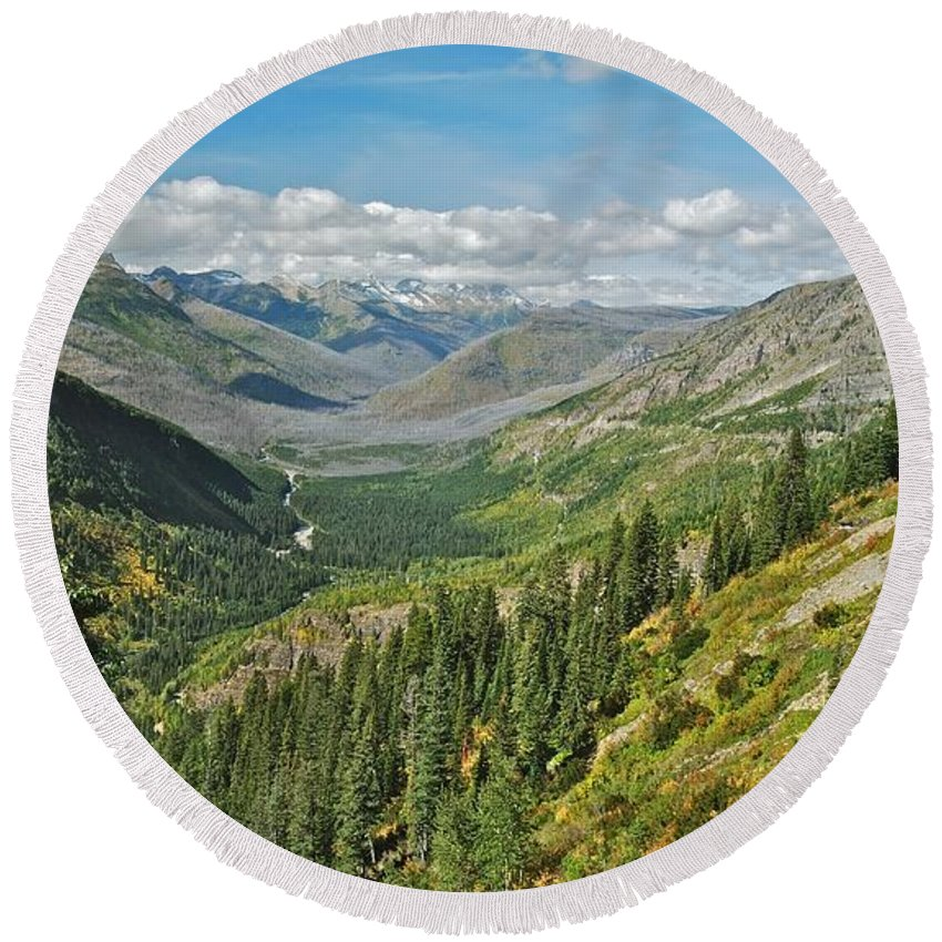 Landscape Round Beach Towel featuring the photograph Glacier National Park 9275 by Michael Peychich